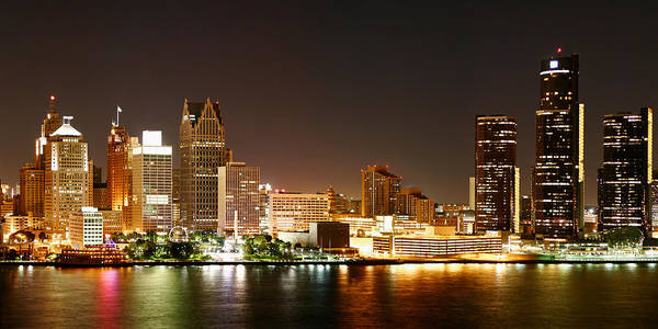 Michigan Photograph - Detroit Skyline At Night-color by Levin Rodriguez