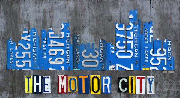 Recycling Mixed Media - Detroit The Motor City Skyline License Plate Art On Gray Wood Boards  by Design Turnpike