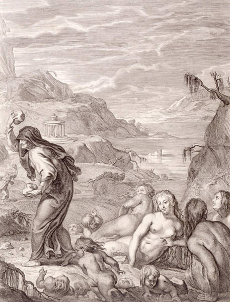 Stone Drawing - Deucalion And Pyrrha Repeople The World By Throwing Stones Behind Them by Bernard Picart