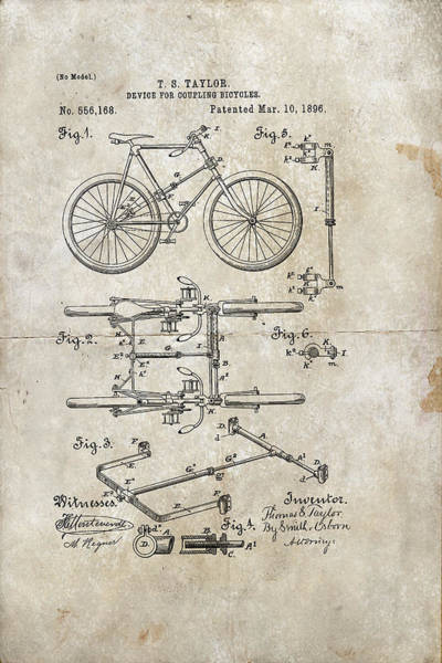Digital Art - Device For Coupling Bicycles Patent 1896 by Paulette B Wright