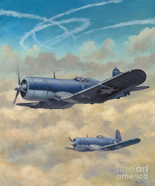 Corsair Painting - Devil Dog Fight by Stephen Roberson