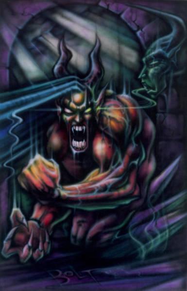 Wall Art - Painting - Devil In My Ear by David Bollt