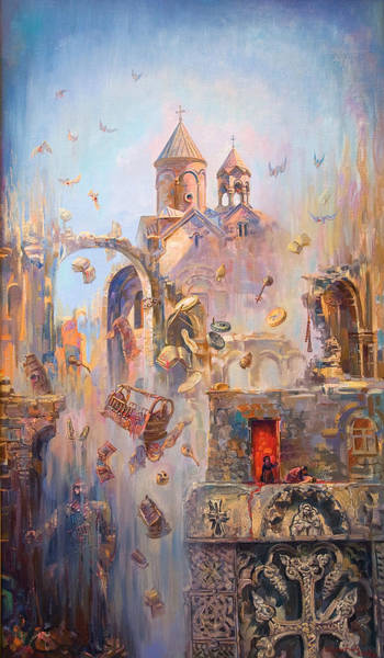Triptych Wall Art - Painting - Devoted To The Saint Memory Of The Victims Of Armenian Genocide by Meruzhan Khachatryan