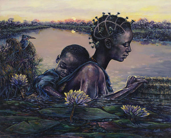 African Women Painting - Devotion by Dennis Goff