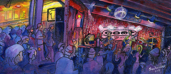 Painting - Dewey Paul Band At The Goat by David Sockrider