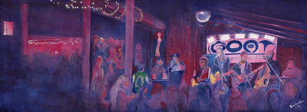 Painting - Dewey Paul Band At The Goat Nye by David Sockrider