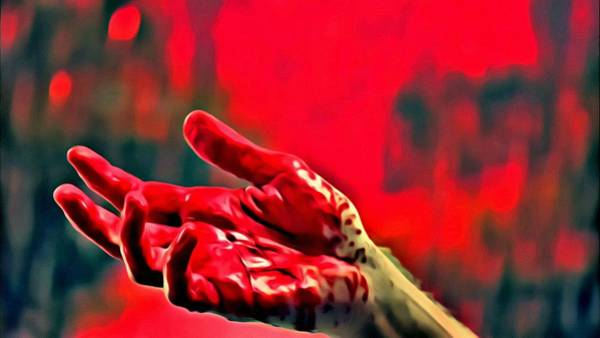 Serial Killer Painting - Dexter Bloody Hand by Florian Rodarte