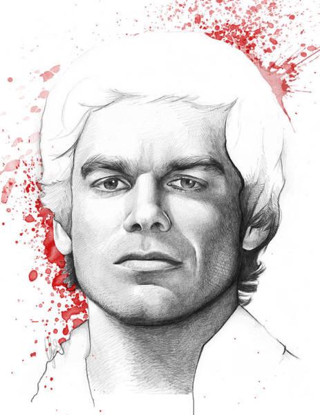 Print Drawing - Dexter Morgan by Olga Shvartsur