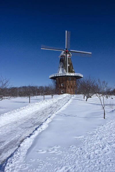 Photograph - Dezwaan Windmill During Winter In Holland Michigan by Randall Nyhof