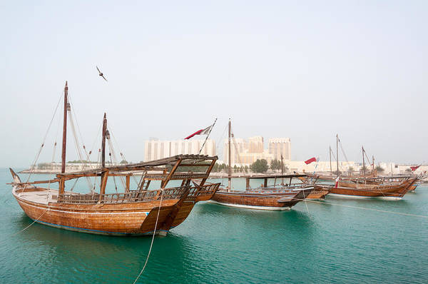 Worldcup Photograph - Dhow Moored On Doha Coast In Qatar by Imran Khan