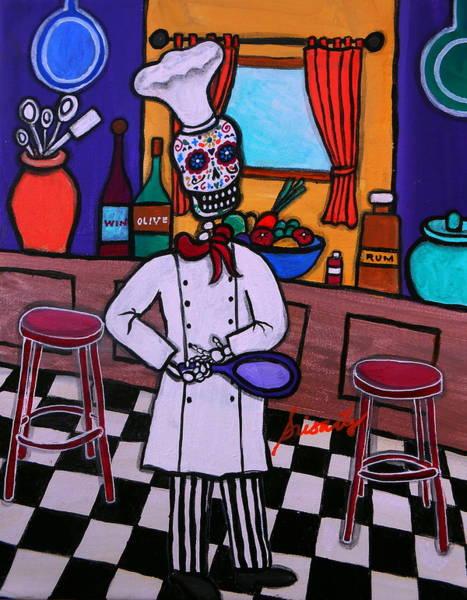 Wall Art - Painting - Dia De Los Muertos Chef by Pristine Cartera Turkus