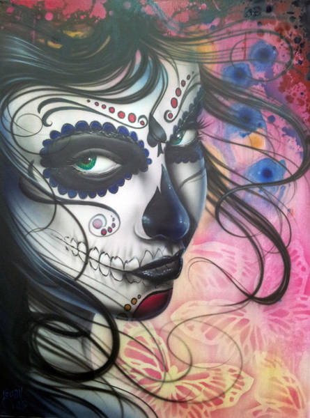 Green Eye Painting - Dia De Los Muertos Chica by Mike Royal