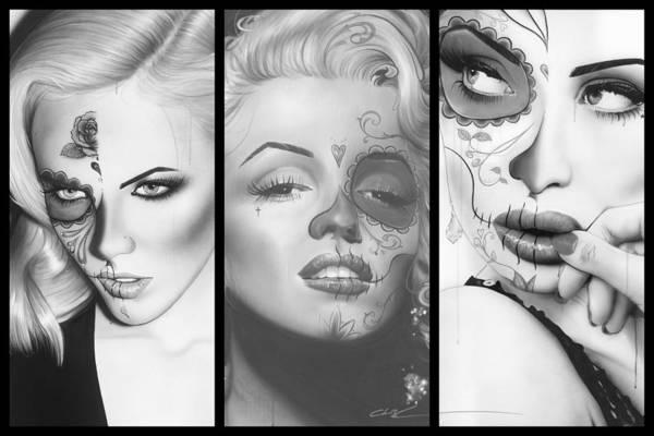Skull Face Painting - Dia De Los Muertos Collage by Christian Chapman Art