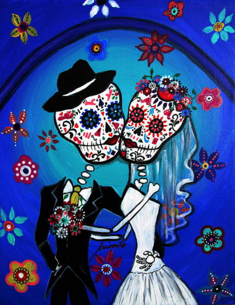 Pristine Wall Art - Painting - Dia De Los Muertos Kiss The Bride by Pristine Cartera Turkus