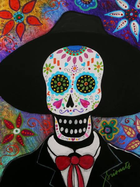Mexican Guitar Player Painting - Dia De Los Muertos Mariachi by Pristine Cartera Turkus