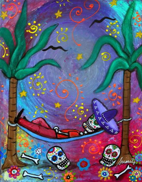 Wall Art - Painting - Dia De Los Muertos Mariachi Siesta by Pristine Cartera Turkus