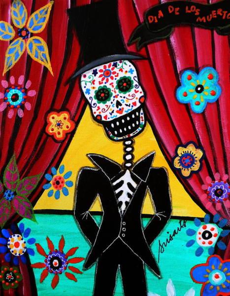 Mexican Guitar Player Painting - Dia De Los Muertos Professor by Pristine Cartera Turkus