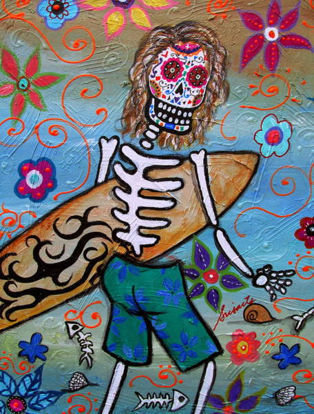 Wall Art - Painting - Dia De Los Muertos Surfer by Pristine Cartera Turkus