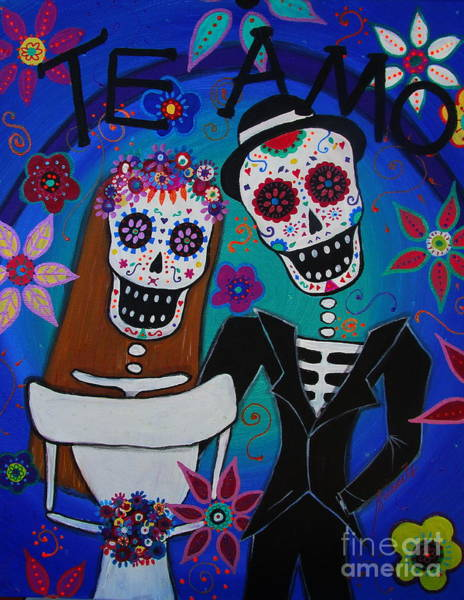 Hello Kitty Wall Art - Painting - Dia De  Los Muertos Te Amo by Pristine Cartera Turkus