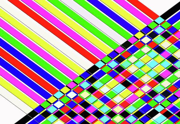 Horizontal Stripes Digital Art - Diagonal Stripes And Cubes Creative by Raj Kamal