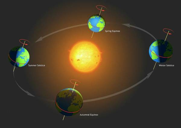 Earth Orbit Photograph - Diagram Of The Mechanics Of The Seasons by Mark Garlick/science Photo Library