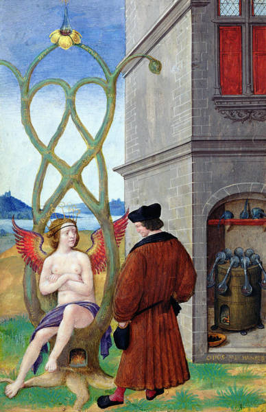 Allegory Photograph - Dialogue Between The Alchemist And Nature, 1516 Vellum by Jean Perreal
