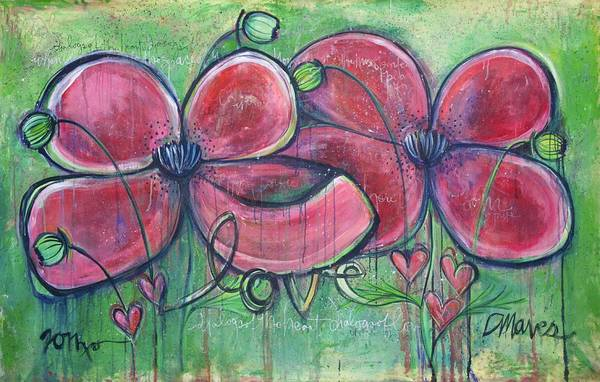 Painting - Dialogues Of The Heart Poppies by Laurie Maves ART