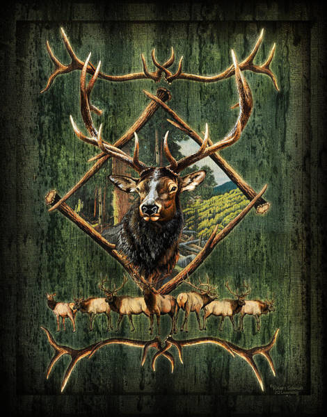 Antlers Painting - Diamond Elk by JQ Licensing