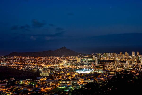 Photograph - Diamond Head And Honolulu At Night by Dan McManus