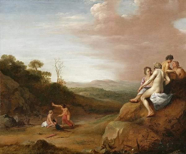 Artemis Wall Art - Painting - Diana And Her Nymphs With The Discovery by Cornelis van Poelenburgh or Poelenburch