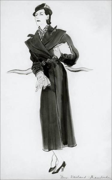 Footwear Digital Art - Diana Vreeland Wearing A Mainbocher Coat by Rene Bouet-Willaumez