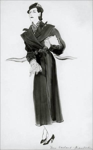 Vogue Digital Art - Diana Vreeland Wearing A Mainbocher Coat by Rene Bouet-Willaumez