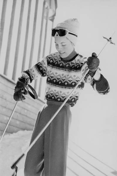 Central Europe Photograph - Princess Furstenberg Holding Ski Poles by Henry Clarke