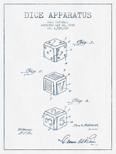 Dice Digital Art - Dice Apparatus Patent From 1925 - Blue Ink by Aged Pixel