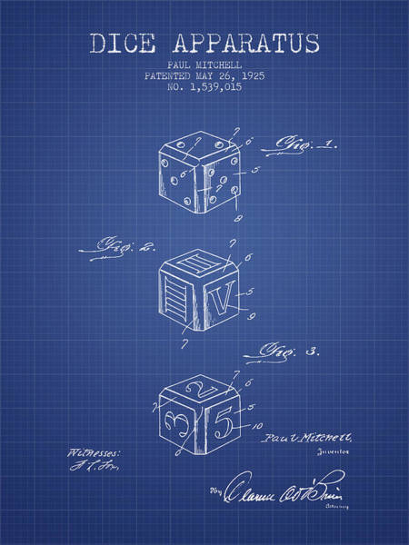 Dice Digital Art - Dice Apparatus Patent From 1925 - Blueprint by Aged Pixel