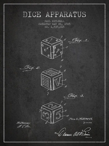 Dice Digital Art - Dice Apparatus Patent From 1925 - Dark by Aged Pixel