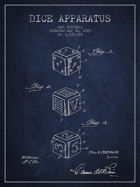 Dice Digital Art - Dice Apparatus Patent From 1925 - Navy Blue by Aged Pixel