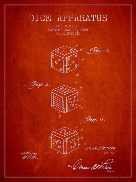 Dice Digital Art - Dice Apparatus Patent From 1925 - Red by Aged Pixel