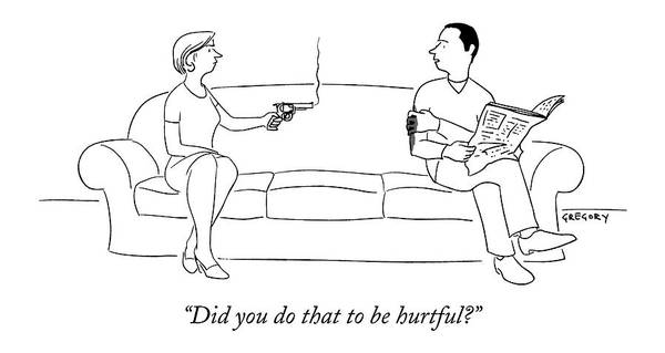 Shooting Drawing - Did You Do That To Be Hurtful? by Alex Gregory