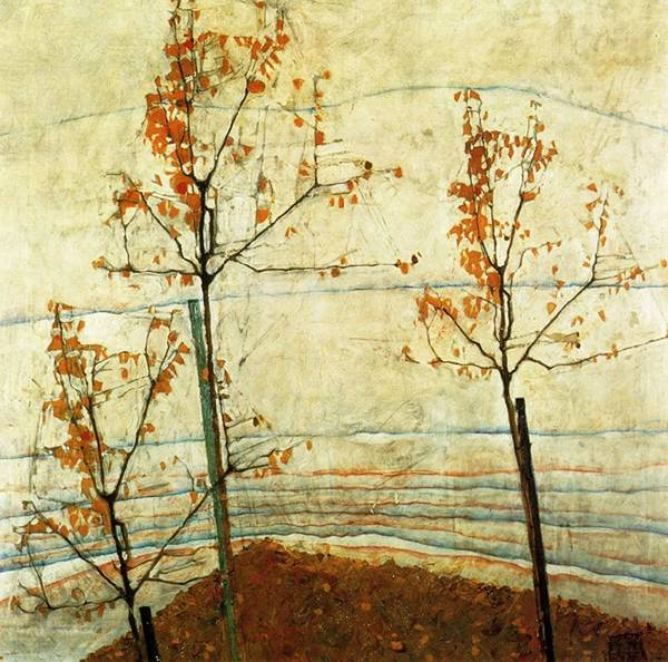 Francis Bacon Wall Art - Painting - Autumn Trees  by Celestial Images