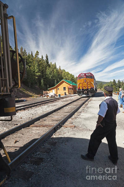 Photograph - Diesel Electric Engine 459coupling To The Train At Fir Station by Fred Stearns