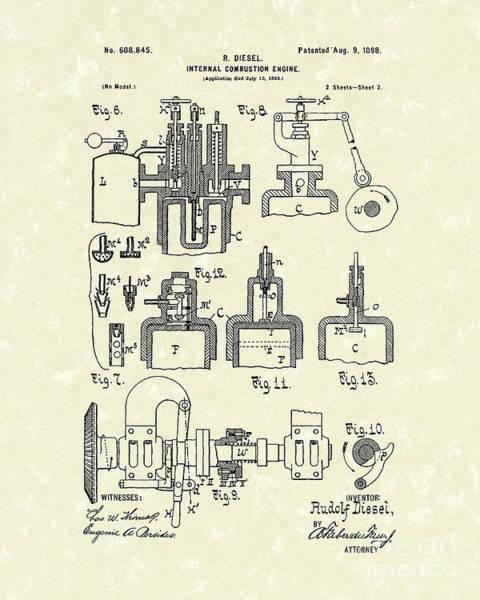 Drawing - Diesel Engine 1898 Patent Art by Prior Art Design