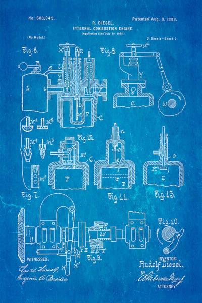 Fitter Photograph - Diesel Internal Combustion Engine Patent Art 1898 Blueprint by Ian Monk