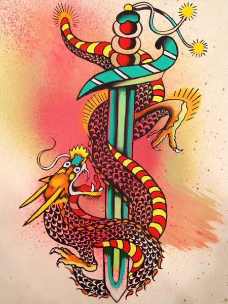 Tattoo Flash Painting - Dietzel Dagger by Britt Kuechenmeister
