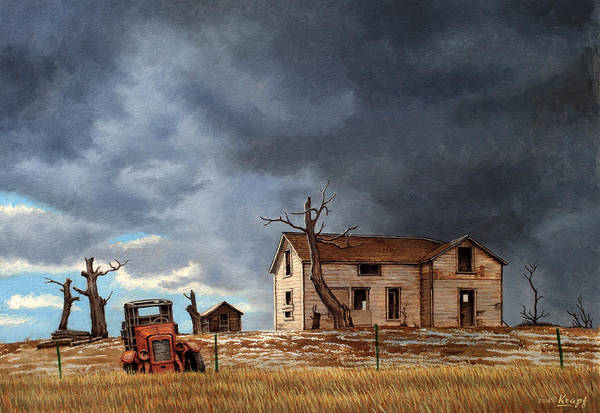 Montana Wall Art - Painting - Different Day At The Homestead by Paul Krapf