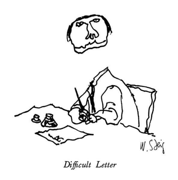 Writing Desk Drawing - Difficult Letter by William Steig