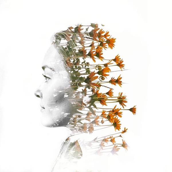 Digital Composite Of Woman Head With Art Print