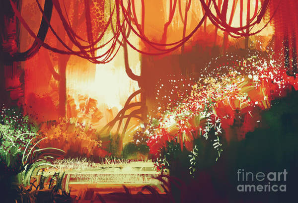 Leaf Digital Art - Digital Painting Of Fantasy Autumn by Tithi Luadthong