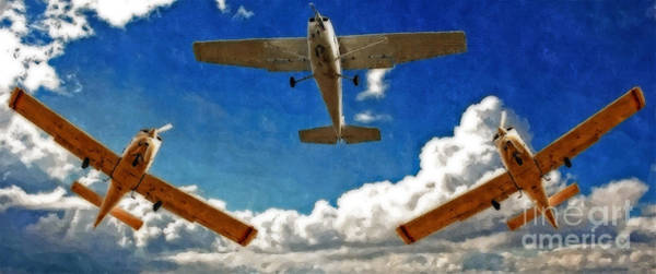 Amateur Digital Art - Digital Painting Of Small Fixed Wing Trainer Planes by Ken Biggs
