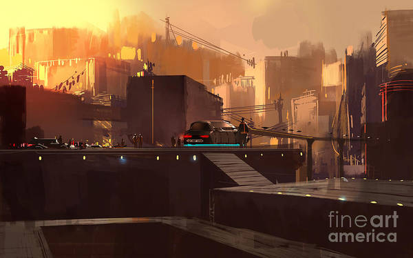 Buildings Digital Art - Digital Painting Showing Futuristic by Tithi Luadthong